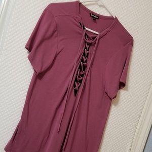 Express Tie Front Shirt Berry Color - Medium